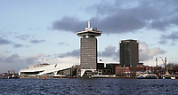 Nederland Amsterdam - december 2017. Amsterdam Noord met Filminsituut EYE, de A'DAM Toren en rechts woontoren B'mine. Foto Berlinda van Dam / Hollandse Hoogte