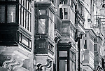 Tradittional balconies in historical part of Valletta in Malta