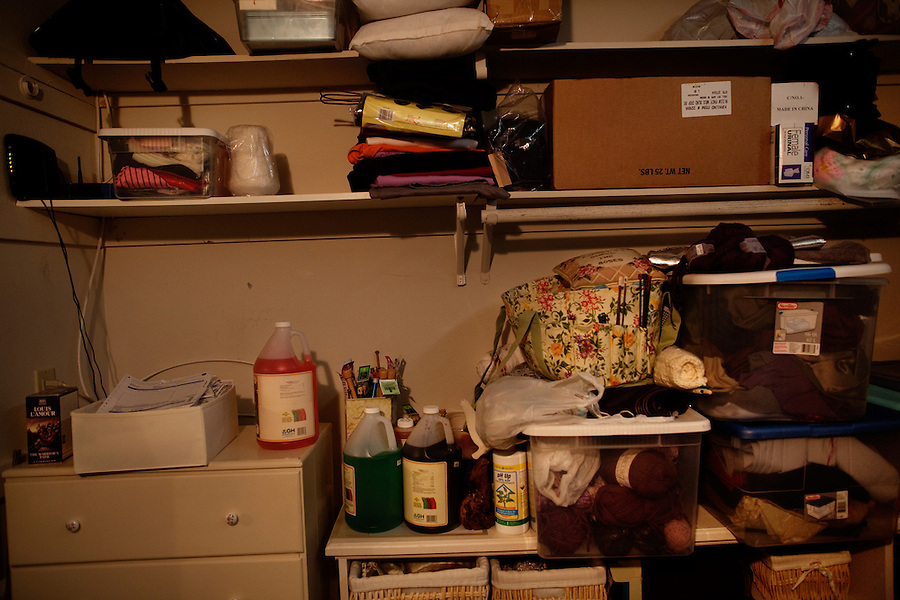 "Laguna Woods, California, October, 26, 2010 - Plant food and knitting materials line the shelf of a member of the medical marijuana collective, Laguna Woods for Medical Cannabis, a collective of about 100 members that operates as a dispensary for medical marijuana at the senior community of Laguna Woods Village. Many seniors who were once vehemently opposed to marijuana, have turned to it at their doctors' suggestion. Indeed, many of the purported health benefits of marijuana target problems that typically plague older people, such as chronic shingles, arthritis pain, and symptoms of multiple sclerosis and cancer, such as loss of appetite, chronic pain and nausea. The collective's chairman, Lonnie Painter, has said that ""Many of our members were closet smokers. They were embarrassed by the fact that they used cannabis to help their medical condition. But we have tried to make them feel okay to use it."" California's Compassionate Use Act, passed in 1996, allows people with a prescription to use and cultivate medicinal marijuana...."