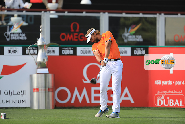 Joost Luiten (NED) on the 1st during the final round of the Omega Dubai Desert Classic, Emirates Golf Club, Dubai,  United Arab Emirates. 05/02/2017<br /> Picture: Golffile | Fran Caffrey<br /> <br /> <br /> All photo usage must carry mandatory copyright credit (&copy; Golffile | Fran Caffrey)