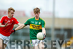 Patrick Warren Kerry in action against Shane Hickey Louth in the All Ireland Minor Football Quarter Finals at O'Moore Park, Portlaoise on Saturday.