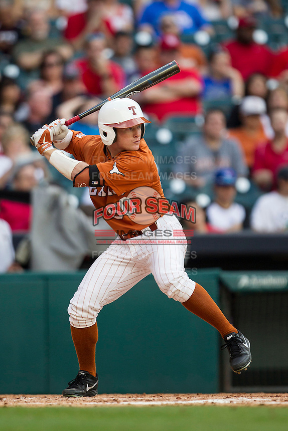 Texas Longhorns outfielder Zane Gurwitz #50 at bat during the NCAA baseball game against the Houston Cougars on March 1, 2014 during the Houston College Classic at Minute Maid Park in Houston, Texas. The Longhorns defeated the Cougars 3-2. (Andrew Woolley/Four Seam Images)