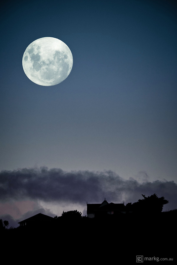 Saturday 19 March - first night of my super moon shoot as it rises over Maupuia in Wellington, New Zealand.