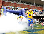 BROOKINGS, SD - OCTOBER 5:  Mike Shoff #63 from South Dakota State University leads the team out of the locker room before their game against Southern Illinois Saturday afternoon at Coughlin Alumni Stadium in Brookings. (Photo by Dave Eggen/Inertia)