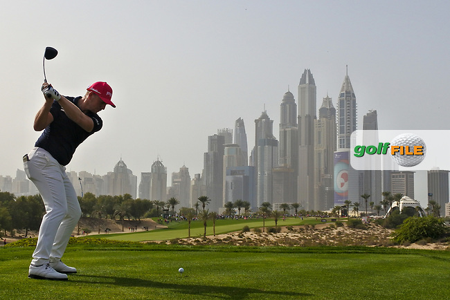 Matt Wallace (ENG) on the 8th during Round 2 of the Omega Dubai Desert Classic, Emirates Golf Club, Dubai,  United Arab Emirates. 25/01/2019<br /> Picture: Golffile | Thos Caffrey<br /> <br /> <br /> All photo usage must carry mandatory copyright credit (© Golffile | Thos Caffrey)
