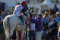 DEL MAR, CA - NOVEMBER 04: John Velazquez, aboard World Approval #5, is congratulated after winning the Breeders' Cup Mile race on Day 2 of the 2017 Breeders' Cup World Championships at Del Mar Racing Club on November 4, 2017 in Del Mar, California. (Photo by John Durr/Eclipse Sportswire/Breeders Cup)