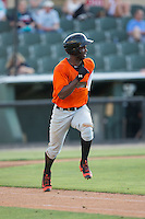 Kelvin Beltre (29) of the Augusta GreenJackets hustles down the first base line against the Kannapolis Intimidators at Intimidators Stadium on May 30, 2016 in Kannapolis, North Carolina.  The GreenJackets defeated the Intimidators 5-3.  (Brian Westerholt/Four Seam Images)