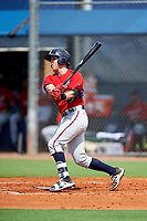 GCL Twins catcher Brian Olson (39) follows through on a swing during the first game of a doubleheader against the GCL Rays on July 18, 2017 at Charlotte Sports Park in Port Charlotte, Florida.  GCL Twins defeated the GCL Rays 11-5 in a continuation of a game that was suspended on July 17th at CenturyLink Sports Complex in Fort Myers, Florida due to inclement weather.  (Mike Janes/Four Seam Images)