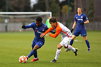 Tariq Lamptey of Chelsea tries to shake off an opponent during Chelsea Under-19 vs Montpellier HSC Under-19, UEFA Youth League Football at the Cobham Training Ground on 13th March 2019