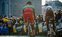 Ronde van Vlaanderen 2013..Steve Chainel (FRA) & Gediminas BAGDONAS (LTU) on their way to sign-in