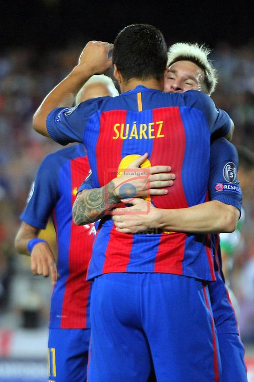 UEFA Champions League 2016/2017 - Matchday 1.<br /> FC Barcelona vs Celtic FC: 7-0.<br /> Luis Suarez &amp; Lionel Messi.