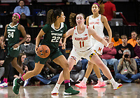 COLLEGE PARK, MD - FEBRUARY 03: Taylor Mikesell #11 of Maryland defends against Moira Joiner #22 of Michigan State during a game between Michigan State and Maryland at Xfinity Center on February 03, 2020 in College Park, Maryland.