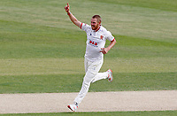 Jamie Porter of Essex celebrates taking the wicket of Grant Stewart during Essex CCC vs Kent CCC, Bob Willis Trophy Cricket at The Cloudfm County Ground on 3rd August 2020