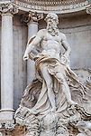 Statue at the famous Trevi Fountain, Rome, Italy