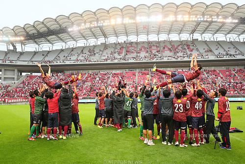 (L-R)  Toru Araiba,  Atsushi Yanagisawa, Koji Nakata,<br /> JULY 5, 2015 - Football / Soccer : <br /> A farewell game of Koji Nakata, Atsushi Yanagisawa and Toru Araiba <br /> at Kashima Soccer Stadium in Ibaraki, Japan. <br /> (Photo by Yohei Osada/AFLO SPORT)