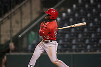 AZL Angels right fielder D'Shawn Knowles (20) follows through on his swing during an Arizona League game against the AZL Diamondbacks at Tempe Diablo Stadium on June 27, 2018 in Tempe, Arizona. AZL Angels defeated the AZL Diamondbacks 5-3. (Zachary Lucy/Four Seam Images)