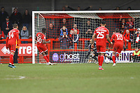 Beryly Lubala of Crawley Town scores from the penalty spot during Crawley Town vs Oldham Athletic, Sky Bet EFL League 2 Football at Broadfield Stadium on 7th March 2020
