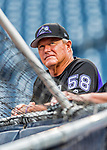 29 July 2017: Colorado Rockies hitting coach Duane Espy watches batting practice prior to a game against the Washington Nationals at Nationals Park in Washington, DC. The Rockies defeated the Nationals 4-2 in the first game of their 3-game weekend series. Mandatory Credit: Ed Wolfstein Photo *** RAW (NEF) Image File Available ***