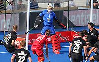 Richard Joyce makes a save during the Pro League Hockey match between the Blacksticks Women and Belgium, National Hockey Arena, Auckland, New Zealand, Sunday 2 February 2020. Photo: Simon Watts/www.bwmedia.co.nz