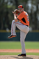Pitcher Parker Bridwell (27) of the Baltimore Orioles organization during a minor league spring training game against the Minnesota Twins on March 20, 2014 at Buck O'Neil Complex in Sarasota, Florida.  (Mike Janes/Four Seam Images)