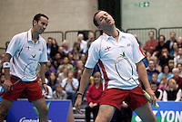 17 OCT 2009 - LOUGHBOROUGH, GBR - Nathan Robertson and Anthony Clark rue a missed point in their mens doubles match during the Team England v Japan International (PHOTO (C) NIGEL FARROW)