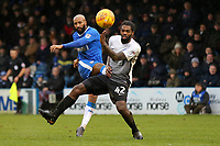 Josh Parker of Gillingham takes a shot at the Peterborough goal as Anthony Grant anxiously looks on during Gillingham vs Peterborough United, Sky Bet EFL League 1 Football at the MEMS Priestfield Stadium on 10th February 2018