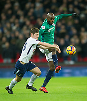 Tottenham's Ben Davies  and West Bromwich Albion Allan - Romeo Nyom during the Premier League match between Tottenham Hotspur and West Bromwich Albion at Wembley Stadium, London, England on 25 November 2017. Photo by Andrew Aleksiejczuk / PRiME Media Images.