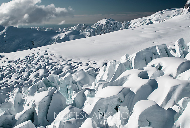 Looking north across seracs of the upper part of the Fox Glacier - Westland National Park