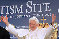 Pope Benedict XVI (L) looks on during a ceremony at the Baptism Site in Bethany Beyond the Jordan, on the east bank of the Jordan River May 10, 2009...