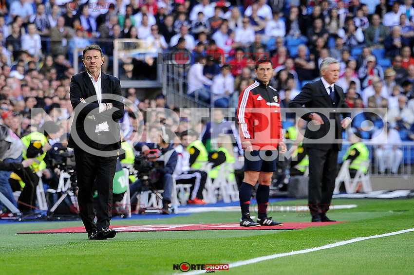 Real Madrid´s coach Carlo Ancelotti and Granada´s coach Abel Resino during 2014-15 La Liga match between Real Madrid and Granada at Santiago Bernabeu stadium in Madrid, Spain. April 05, 2015. (ALTERPHOTOS/Luis Fernandez) /NORTEphoto.com
