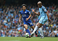 Leicester City's Shinji Okazaki watches Manchester City's Vincent Kompany<br /> <br /> Photographer Stephen White/CameraSport<br /> <br /> The Premier League - Manchester City v Leicester City - Saturday 13th May 2017 - Etihad Stadium - Manchester<br /> <br /> World Copyright &copy; 2017 CameraSport. All rights reserved. 43 Linden Ave. Countesthorpe. Leicester. England. LE8 5PG - Tel: +44 (0) 116 277 4147 - admin@camerasport.com - www.camerasport.com