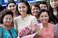 "YOLLANDA ""NOK"" SUANYOT poses with her family and supporters to the Thai media after she was declared winner of the provincial elections for government in Nan, Thailand. Known formerly as a beauty queen, is running today a political campaign for the local rule of Nan city. 30-year-old Yollada Suanyot, who was born a male, has become the first transgender to register as an election candidate. The elections were hold on last May 27th in 24 constituencies in 15 districts, where she was declared winner with 3,812 point for the first ranking. In accord with the Thai media this is the first time in Thailand that a transgender is taking part in a provincial election."
