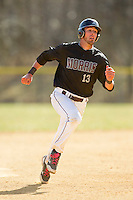Eric Barsanti (13) of the County College of Morris Titans hustles towards third base against the SUNY Sullivan Generals on the campus of County College of Morris on April 9, 2013 in Randolph, New Jersey.  The Titans defeated the Generals 12-4.  (Brian Westerholt/Four Seam Images)