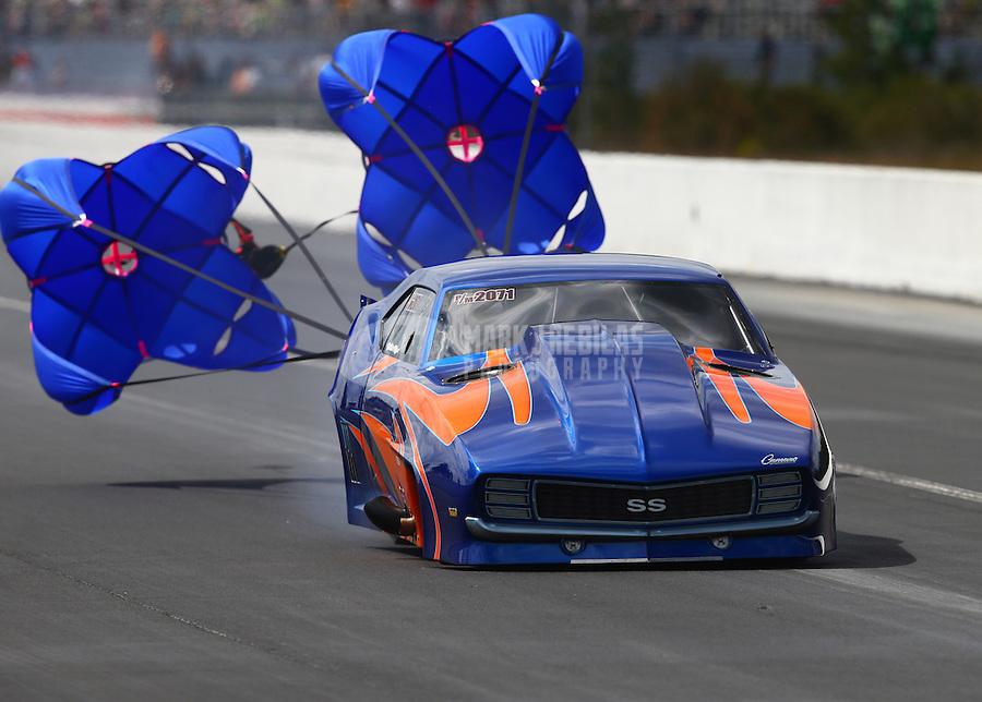 Mar 14, 2015; Gainesville, FL, USA; NHRA pro mod driver James Willard Kinzer during qualifying for the Gatornationals at Auto Plus Raceway at Gainesville. Mandatory Credit: Mark J. Rebilas-