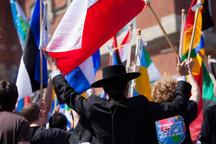 Ohio University Camila Lemaster of Chile represents her country during the parade of nations at the International Week street fair on Saturday April 19, 2014.  Photo by Ohio University / Jonathan Adams