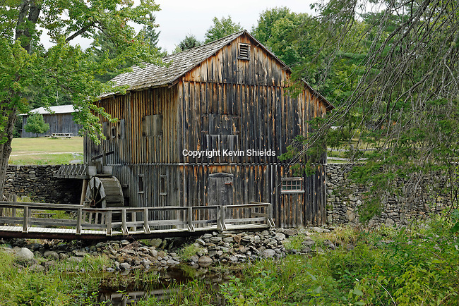 View of water-powered sawmill, Leonard's Mills, Bradley, Penobscot County, Maine, USA.
