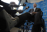 "(Boston Ma 042013) Boston Mayor Thomas Menino at the dedication of the Spaulding Rehabilitation Hospital in Charlestown Saturday evening, with his broken foot in a cast, has said he has used the hospital in the recent past. During this short press conference Menino talked about the events of the past week including reporting the condition of the injured officer has improved. When asked about the condition of the wounded suspect captured Friday night Menino said ""who cares""  (Jim Michaud Photo) For Sunday"