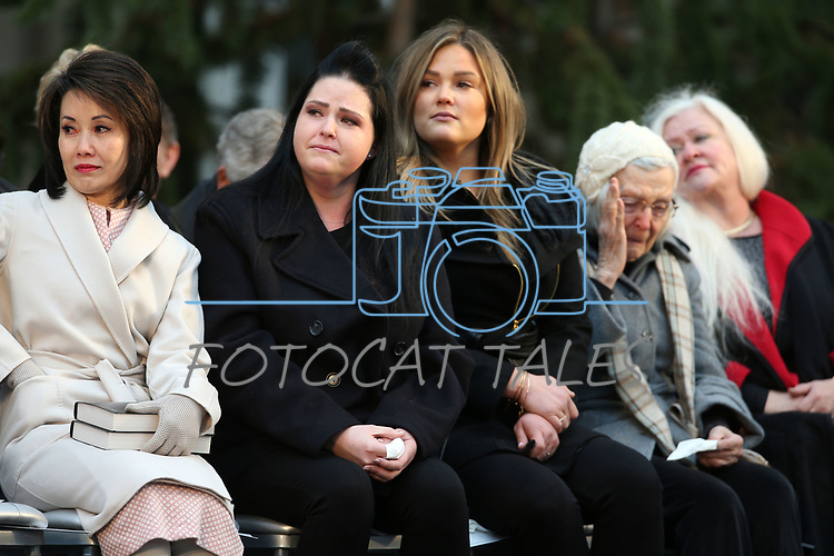 From left, Nevada Gov. Steve Sisolak's wife, First Lady Kathy Sisolak, daughters Ashely Sisolak, Carley Sisolak, mother Mary Sisolak and sister Sue Sisolak get emotional listening as Nevada's 30th governor speaks to the crowd during his inauguration at the Capitol, in Carson City, Nev., on Monday, Jan. 7, 2019. (Cathleen Allison/Las Vegas Review-Journal)