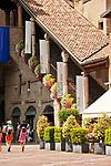 Piazza Vecchia and a view of the Museo Storico dell'Eta Veneta in Bergamo, Italy