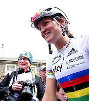 Picture by Simon Wilkinson/SWpix.com - 30/04/2016 - Cycling - 2016 Asda Women's Tour de Yorkshire: Otley to Doncaster - Yorkshire, England - Lizzie Armitstead of Great Britain reacts after the race.