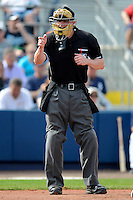 Home plate umpire Marcus Pattillo during a spring training game between the Boston Red Sox and Tampa Bay Rays at Charlotte County Sports Park on February 25, 2013 in Port Charlotte, Florida.  Tampa Bay defeated Boston 6-3.  (Mike Janes/Four Seam Images)