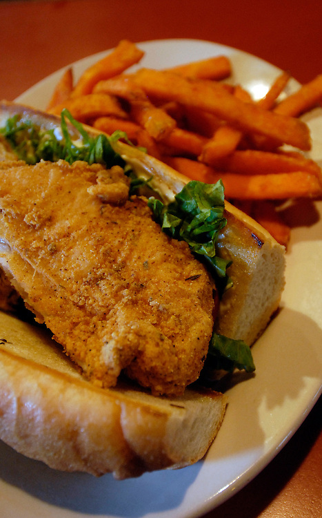 Catfish Po'Boy and sweet potato fries at the Argonuat bar,