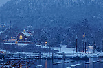 Winter evening in Camden, Maine, USA