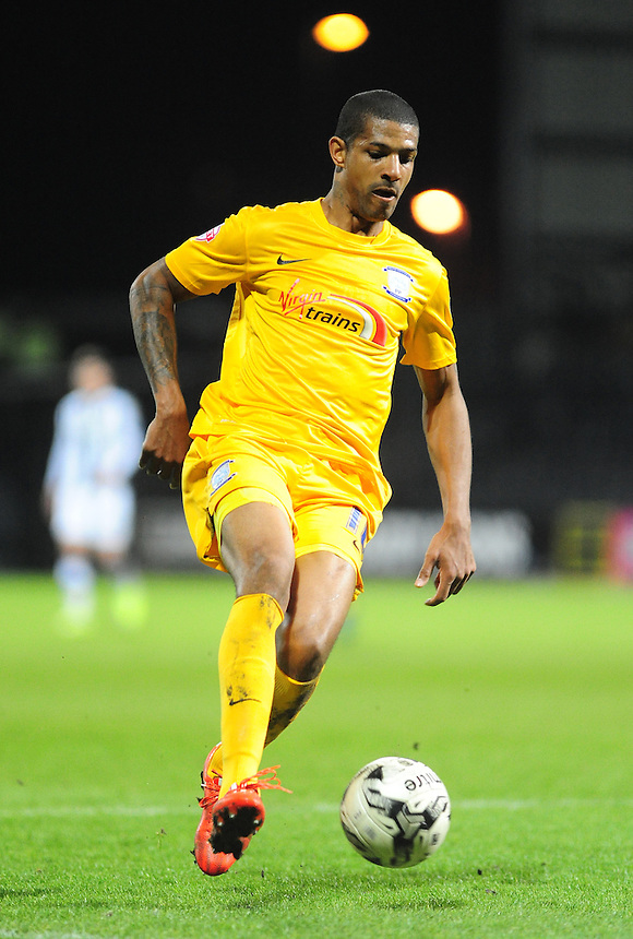Preston North End's Jermaine Beckford<br /> <br /> Photographer Andrew Vaughan/CameraSport<br /> <br /> Football - The Football League Sky Bet League One - Notts County v Preston North End - Tuesday 21st April 2015 - Meadow Lane - Nottingham<br /> <br /> &copy; CameraSport - 43 Linden Ave. Countesthorpe. Leicester. England. LE8 5PG - Tel: +44 (0) 116 277 4147 - admin@camerasport.com - www.camerasport.com