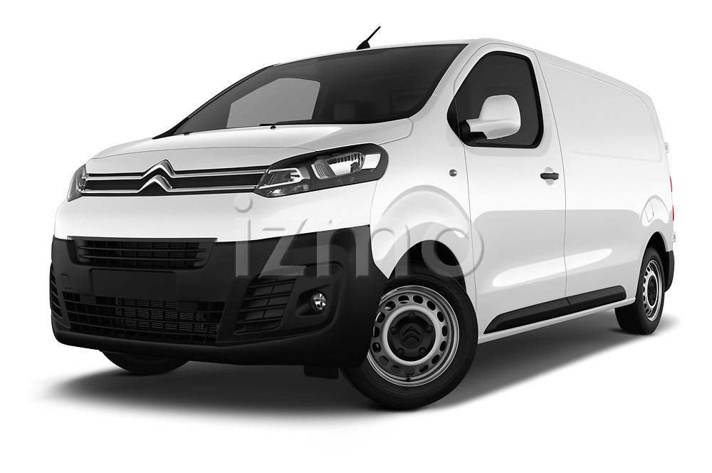 Stock pictures of low aggressive front three quarter view of 2017 Citroen Jumpy Business 5 Door Cargo Van Low Aggressive