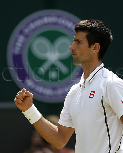 05.07.2013. Wimbledon, London, England.  Novak Djokovic of Serbia Celebrates for A Point against Martin Del Potro (Arg) in the mens singles semi-finals match