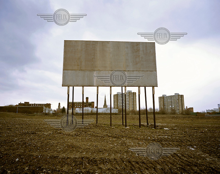 Blank billboard for a future building project in the area of Salford.