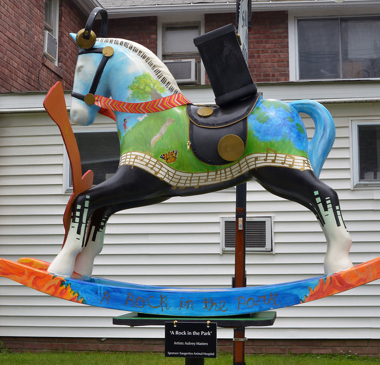 """A view of """"A Rock in the Park"""" created by artist, Aubrey Masters, one of the """"Rockin' Around Saugerties"""" theme Statues on display throughout the Village of Saugerties, NY, on Sunday, June 4, 2017. Photo by Jim Peppler. Copyright/Jim Peppler-2017."""