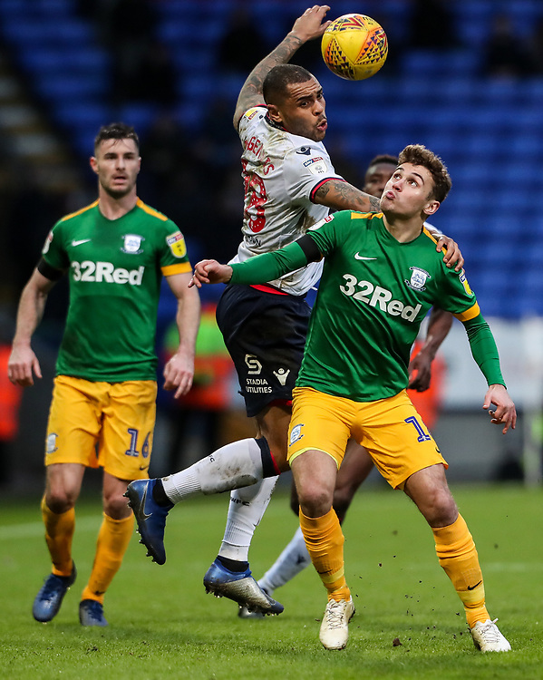 Bolton Wanderers' Josh Magennis competing with Preston North End's Ryan Ledson  <br /> <br /> Photographer Andrew Kearns/CameraSport<br /> <br /> The EFL Sky Bet Championship - Bolton Wanderers v Preston North End - Saturday 9th February 2019 - University of Bolton Stadium - Bolton<br /> <br /> World Copyright &copy; 2019 CameraSport. All rights reserved. 43 Linden Ave. Countesthorpe. Leicester. England. LE8 5PG - Tel: +44 (0) 116 277 4147 - admin@camerasport.com - www.camerasport.com