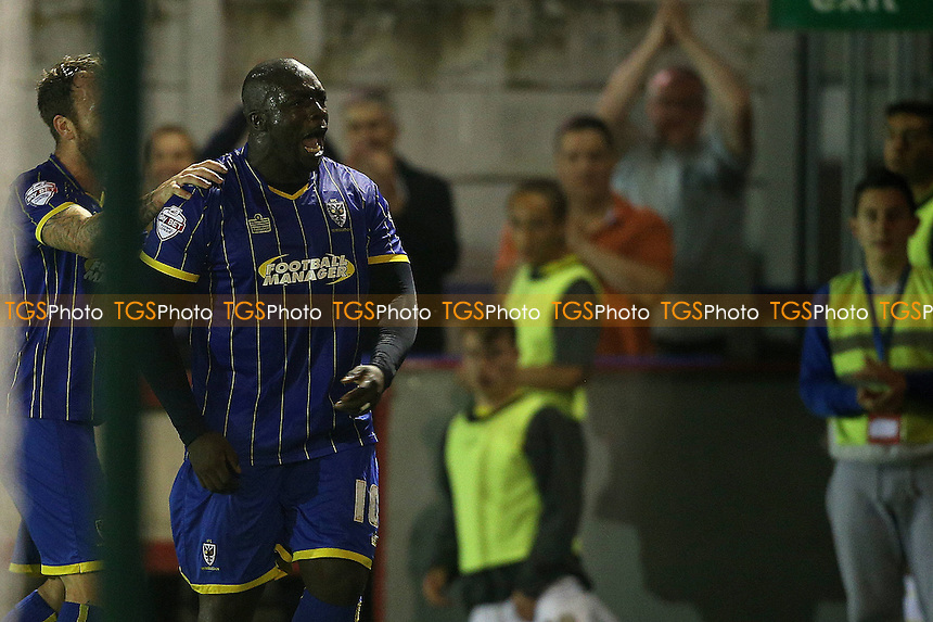 Adebayo Akinfenwa of AFC WImbledon celebrates his first AFC Wimbledon goal - AFC Wimbledon vs Burton Albion - Sky Bet League Two Football at Kingsmeadow, Kingston upon Thames - 16/09/14 - MANDATORY CREDIT: Simon Roe/TGSPHOTO - Self billing applies where appropriate - contact@tgsphoto.co.uk - NO UNPAID USE